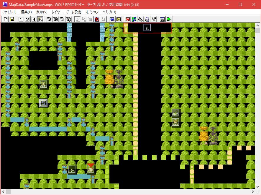 ウルフエディターのタイルサイズを32×32に変更した後のゲーム編集画面。バグっています